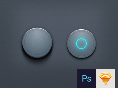 Dark Round Button Template (PSD+SKETCH)