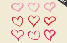 9 Hand Drawn Pink Hearts Vector