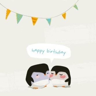 Cartoon Penguins Happy Birthday Background Vector