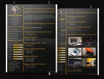 Dark Gold Resume & CV Template PSD