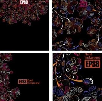 Dark Vintage Floral Background Set Vector