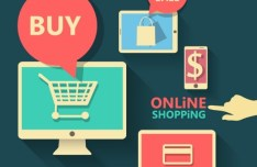 Online Shopping Flat Design Elements Vector