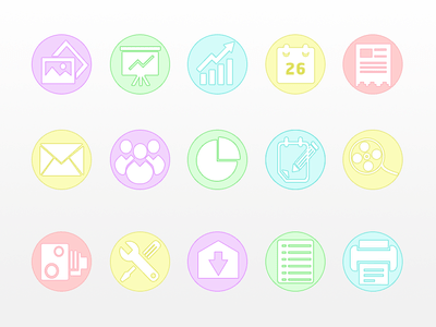 Colored Circular Business Icon Set PSD