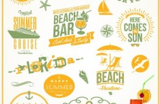 Orange Summer Beach Holiday Design Elements Vector