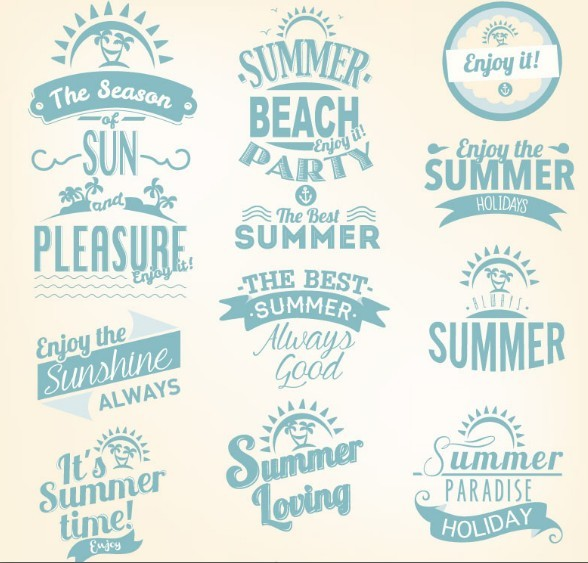 Blue Summer Holiday  Beach Party Badge Set Vector