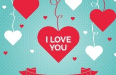 Red & White Love Hearts For Valentine's Day Vector