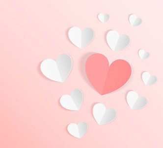 3D Folded Paper Love Hearts Vector