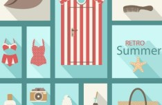 Retro Flat Summer Design Elements Vector