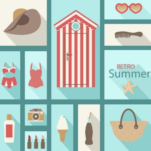 Retro Flat Summer Design Elements Vector