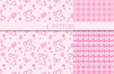 4 Cute Pink Patterns Vector