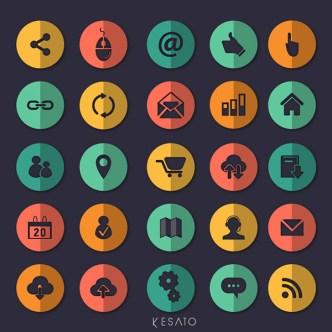 25 Circular Flat Web Icons