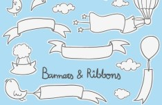 White Cartoon Banners & Ribbons Vector
