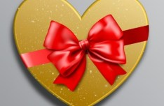 Golden Love Gift Box With Red Ribbon Bow Vector