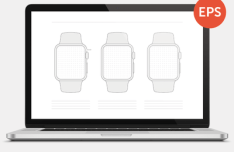 Apple Watch Wireframe Template Vector