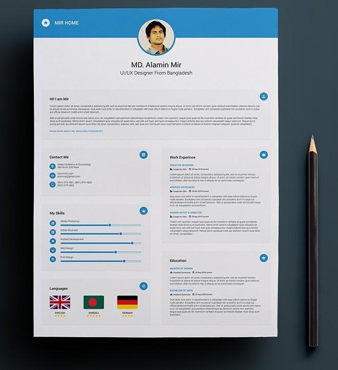free resume with business card mockup psd titanui