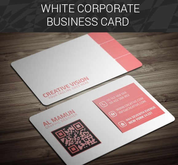 White & Pink Corporate Business Card Mockup PSD