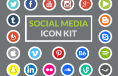 21 Circular Social Media Icons PSD