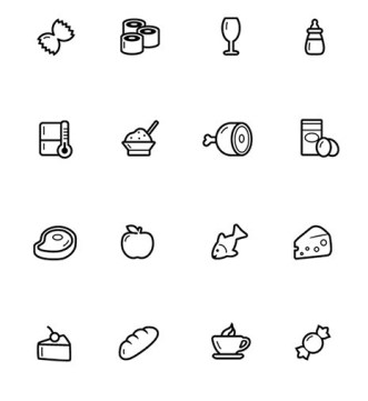16 Food Icons (PSD+Vector)