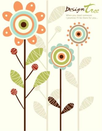 Cartoon Trees & Flowers Vector Illustration