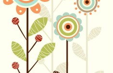 Cartoon Trees & Flowers Vector Illustration