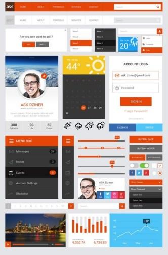 ASK Flat Web UI Kit PSD