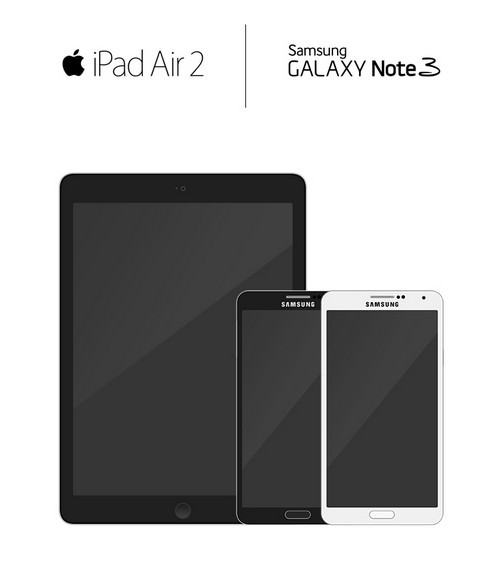 iPad Air 2 & Samsung Galaxy Note 3 Mockups