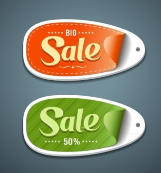 2 Creative 3D Discount Labels Vector
