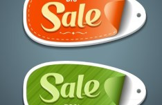 2 Creative 3D Discount Labels Vector