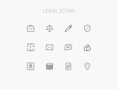 12 Legal Icons PSD