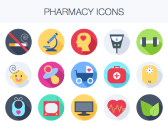 Colorful Flat Pharmacy Icons Sketch