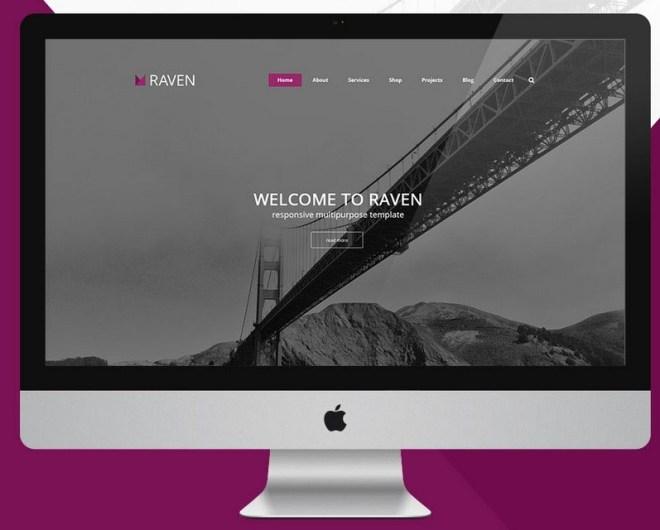 RAVEN Multipurpose Web Template PSD