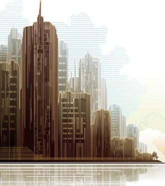 Urban Skyscrapers Silhouette Vector