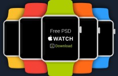 5 Flat Apple Watch Templates PSD
