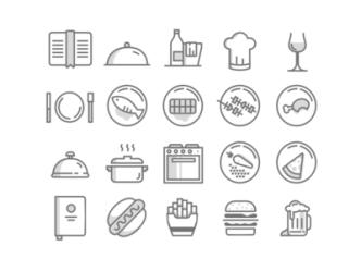 20 Minimal Food Icons (PSD + Vector)