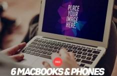6 MacBook, iPhone & iPad Mock-Ups PSD