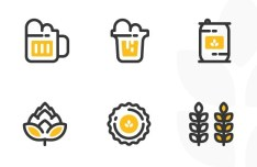 6 Beer Icons Vector