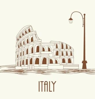 Italy Colosseum Vector Illustration