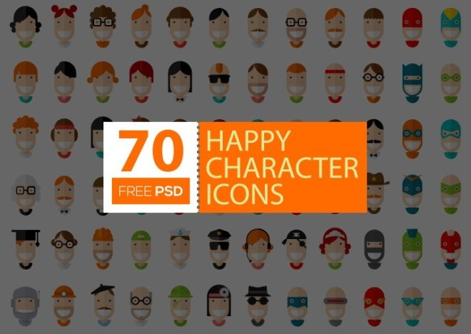 70 Flat Happy Character Icons Vector