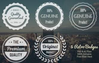 5 Retro Logos Badges (PSD+AI)