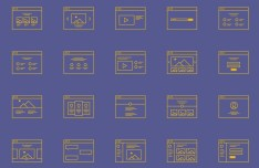 Wireframe Icon Set Vector