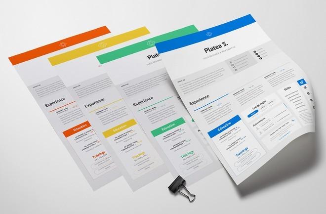 free clean  u0026 minimal resume template psd  4 colors