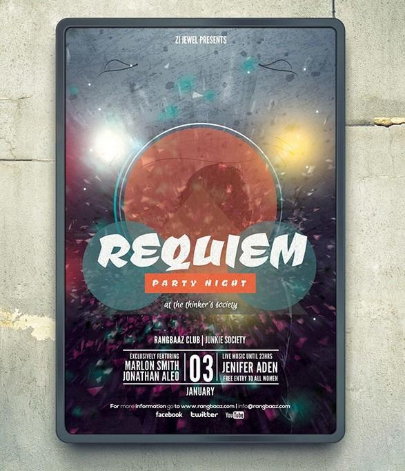 REQUIEM Party Flyer Mockup PSD