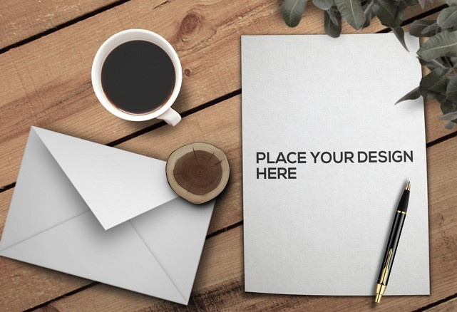 Realistic US Letter Paper Mockup PSD