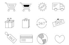 12 E-commerce Line Icons Vector