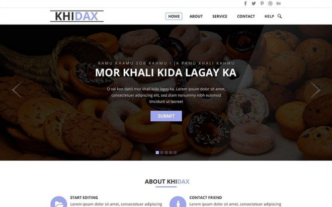 Khidax One Page Website PSD Template