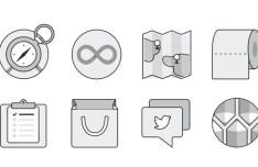 14 Monochromatic Flat UI Icons PSD