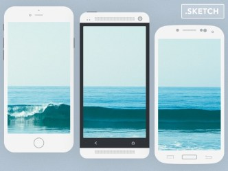 3 Flat Mobile Devices For Sketch