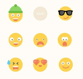 9 Flat Emoji Icons For Sketch