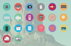 20 Flat Circle Icons Vector