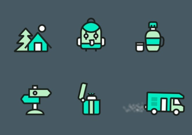 6 Camping Icons Vector